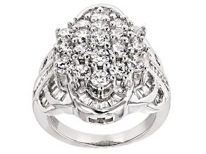 Cubic Zirconia Silver Ring 5.35ctw (3.33ctw DEW)