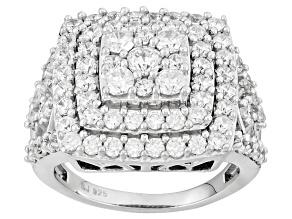 Cubic Zirconia Silver Ring 4.30ctw (2.19ctw DEW)