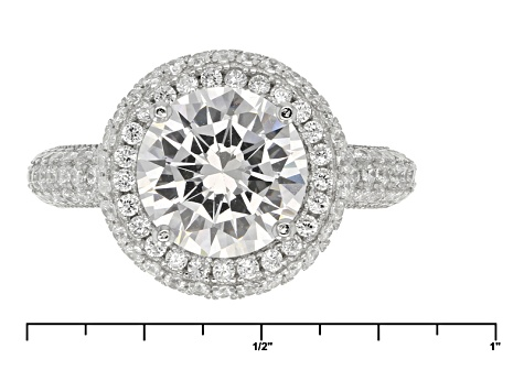 White Cubic Zirconia Rhodium Over Silver Ring 5.94ctw.