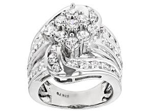 Cubic Zirconia Silver Ring 7.06ctw (3.60ctw DEW)
