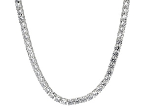 White Cubic Zirconia Rhodium Over Silver Necklace 80.00ctw