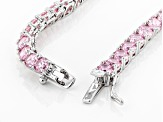 Pink Cubic Zirconia Rhodium Over Silver Necklace 80.00ctw