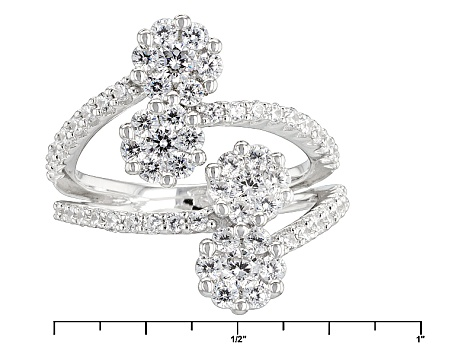 White Cubic Zirconia Rhodium Over Silver Ring 2.82ctw