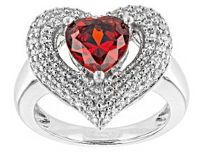 Red And White Cubic Zirconia Rhodium Over Silver Heart Ring 4.10ctw