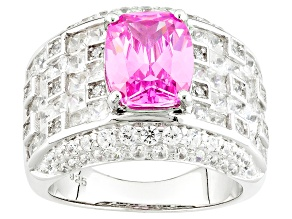 Pink And White Cubic Zirconia Silver Ring 8.02ctw (6.57ctw DEW)