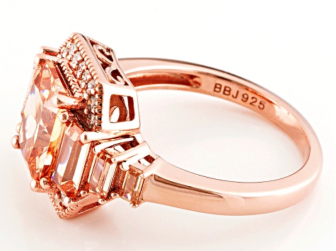 Brown And White Cubic Zirconia 18k Rose Gold Over Silver Ring 5.10ctw (4.00ctw DEW)