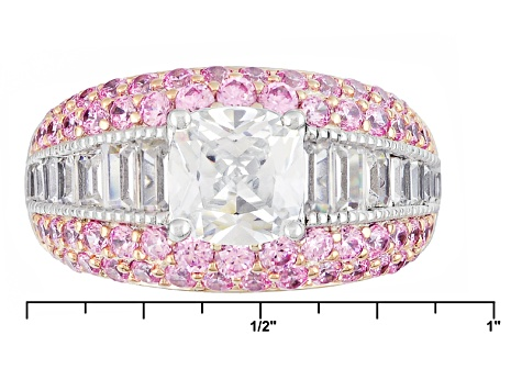White And Pink Cubic Zirconia Silver Ring 5.19ctw (3.54ctw DEW)