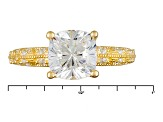 White Cubic Zirconia 18k Yg Over Silver Ring 4.08ctw