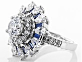 Blue And White Cubic Zirconia Rhodium Over Sterling Silver Ring 6.25ctw