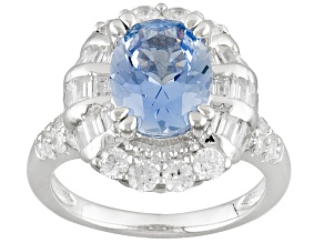 Blue Synthetic Spinela And White Cubic Zirconia Rhodium Over Silver Ring 4.74ctw