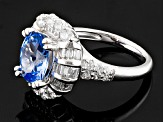 Lab Created Blue Spinel And White Cubic Zirconia Rhodium Over Silver Ring 4.74ctw