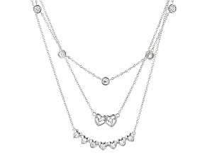 White Cubic Zirconia Rhodium Over Silver Heart Necklace 3.26ctw