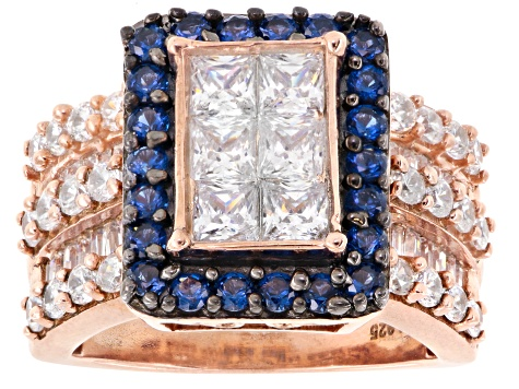 White Cubic Zirconia And Synthetic Blue Sapphire 18k Rose Gold Over Silver Ring 5.05ctw