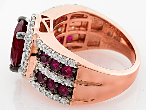 Synthetic Red Corunudm And White Cubic Zirconia 18k Rose Gold Over Silver Ring 5.63ctw