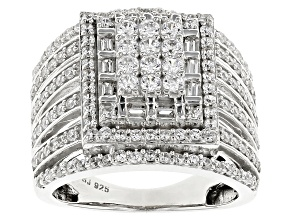 Cubic Zirconia Silver Ring 2.98ctw (1.43ctw DEW)