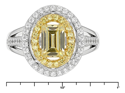 Yellow And White Cubic Zirconia Rhodium Over Silver Ring 2.65ctw