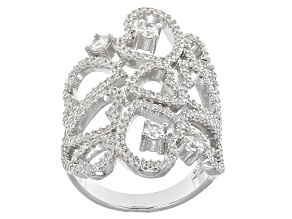 White Cubic Zirconia Rhodium Over Silver Ring 2.60ctw