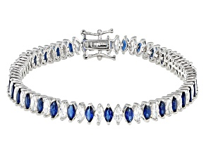 Blue And White Cubic Zirconia Rhodium Over Silver Bracelet 16.56ctw