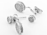 White Cubic Zirconia Rhodium Over Sterling Silver Earrings 1.10ctw