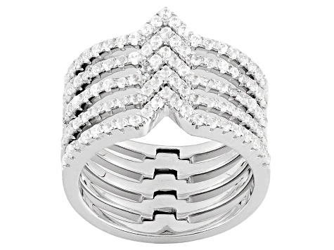 White Cubic Zirconia Rhodium Over Sterling Silver Ring 1.26ctw