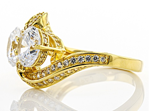 White Cubic Zirconia 18k Yellow Gold Over Silver Ring 6.27ctw