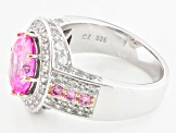 Pink And White Cubic Zirconia Rhodium Over Silver And 18k Rose Gold Over Silver Ring 6.35ctw
