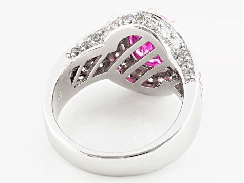 Pink And White Cubic Zirconia Rhodium Over Silver And 18k Rg Over Silver Ring 6.35ctw