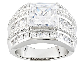 White Cubic Zirconia Rhodium Over Silver Ring 8.44ctw