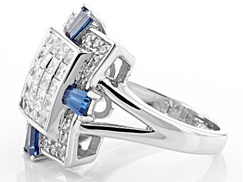 White And Blue Cubic Zirconia Silver Ring 3.39ctw