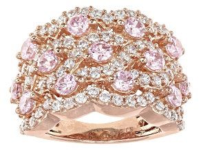 Pink And White Cubic Zirconia 18k Rose Gold Over Silver Ring 4.90ctw (2.63ctw DEW)