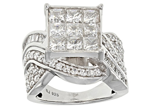 Cubic Zirconia Rhodium Over Sterling Silver Ring 4.71ctw (3.30ctw DEW)