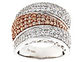 Brown And White Cubic Zirconia Silver Ring 4.08ctw (2.07ctw DEW)