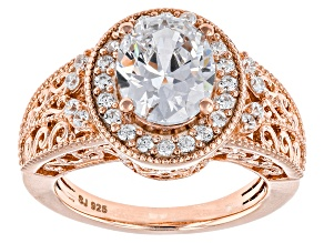 Cubic Zirconia 18k Rose Gold Over Silver Ring 5.43ctw (3.04ctw DEW)