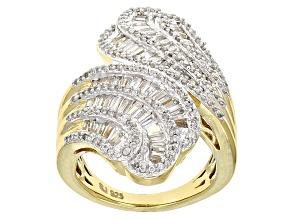 Cubic Zirconia 18k Yellow Gold Over Silver Ring 2.35ctw (1.70ctw DEW)