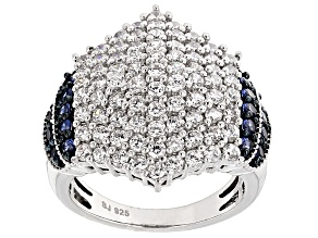 White Cubic Zirconia And Synthetic Sapphire Silver Ring 4.20ctw