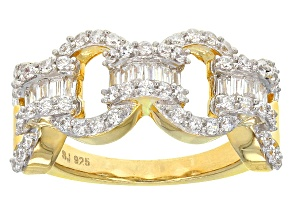 Cubic Zirconia 18k Yellow Gold Over Silver Ring 1.44ctw (.70ctw DEW)