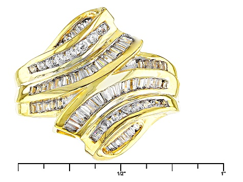 Cubic Zirconia 18k Yellow Gold Over Silver Ring 1.92ctw (1.40ctw DEW)
