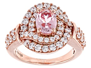 Pink And White Cubic Zirconia 18k Rose Gold Over Silve Ring 3.66ctw (2.68ctw DEW)
