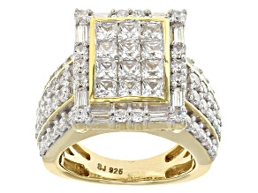 Cubic Zirconia 18k Yellow Gold Over Silve Ring 4.78ctw (2.91ctw DEW)