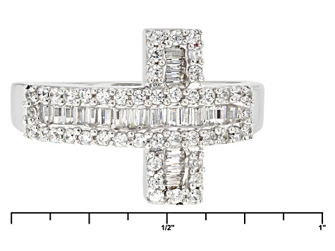 Cubic Zirconia Rhodium Over Sterling Silver Cross Ring 1.13ctw (.74ctw DEW)