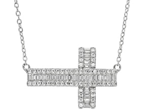 Cubic Zirconia Silver Cross Necklace 1.74ctw (1.04ctw DEW)
