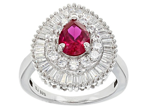 Red Lab Created Ruby  And White Cubic Zirconia Silver Ring 3.94ctw