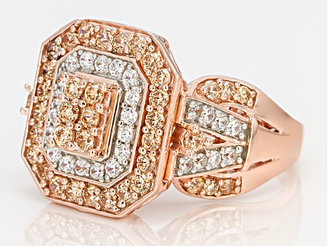 Brown And White Cubic Zirconia 18k Rose Gold Over Silve Ring 3.10ctw (1.57ctw DEW)