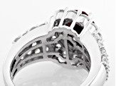 Synthetic Red Corundum And White Cubic Zirconia 18k Rose Gold Over Silver Ring 6.62ctw
