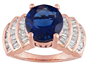 Synthetic Sapphire And White Cubic Zirconia 18k Rose Gold Over Silver Ring 4.81ctw