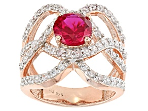 Red Lab Created Ruby And White Cubic Zirconia 18k Rose Gold Over Silver Ring 4.05ctw