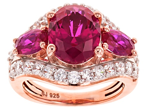 Synthetic Red Corundum And White Cubic Zirconia 18k Rose Gold Over Silver Ring 5.73ctw