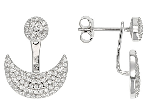 White Cubic Zirconia Rhodium Over Silver Earrings 1.12ctw