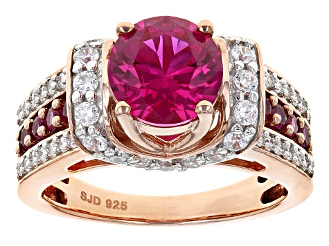 Red Lab Created Ruby And White Cubic Zirconia 18k Rose Gold Silver Ring 1.99ctw