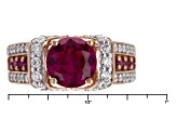 Synthetic Red Corundum And White Cubic Zirconia 18k Rose Gold Silver Ring 1.99ctw